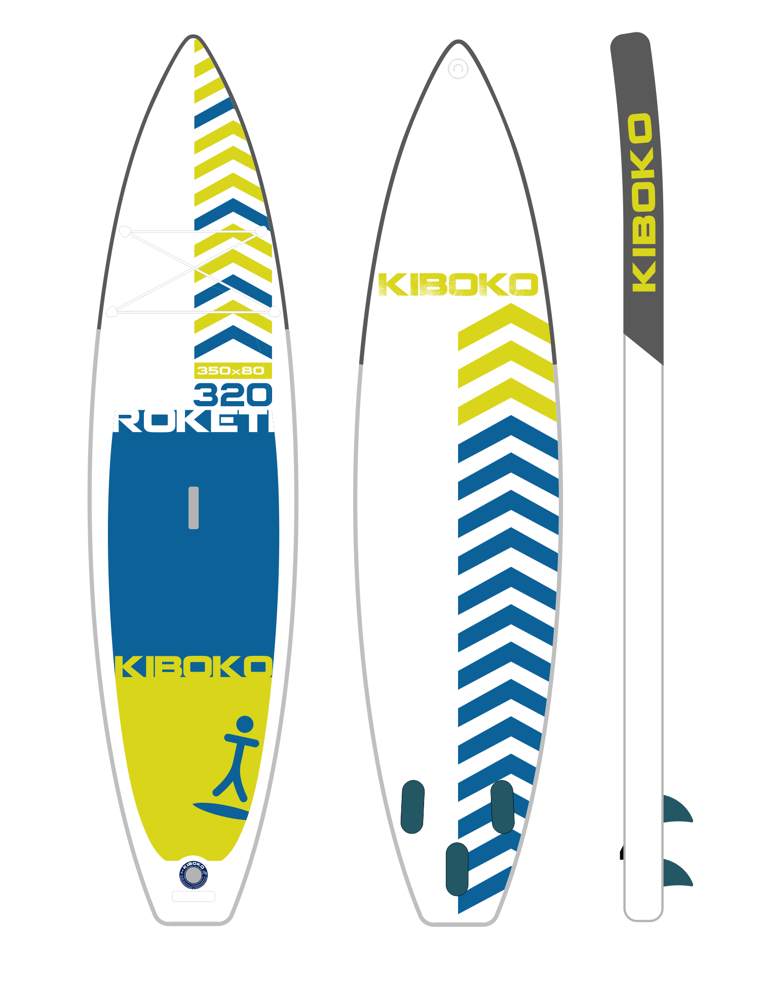 Kiboko Roketi 320 FT 3 Fin Yellow/Blue